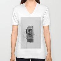 telephone V-neck T-shirts featuring Vintage Telephone by KimberosePhotography