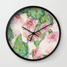 spring cacti bloom Wall Clock