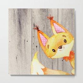 Woodland Friends - Little Fox In Forest Metal Print