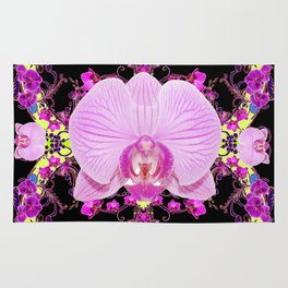 Purple Orchids Pattern Fantasy Yellow Black Art Pattern Rug