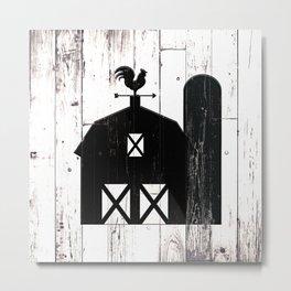 Faux White Wood & Black Barn Metal Print