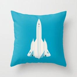 SR-71 Blackbird Supersonic Jet Aircraft - Cyan Throw Pillow