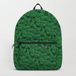 Deep Green Nostalgic Fern Grid Pattern Backpack