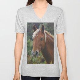 Wild Palomino Flaxen-maned New Forest Horse Unisex V-Neck