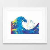 hokusai Framed Art Prints featuring Hokusai Rainbow & rotating dolphins_D by FACTORIE