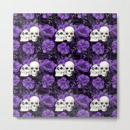 Purple Floral Skull Pattern Metal Print