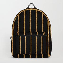Golden lines on black Backpack