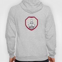 Butcher With Meat Cleaver Shield Retro Hoody