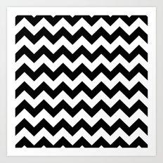 Chevron (Black/White) Art Print