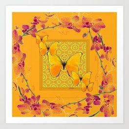 Golden Butterflies Pattern Purple-Pink Orchids Gold Art Art Print