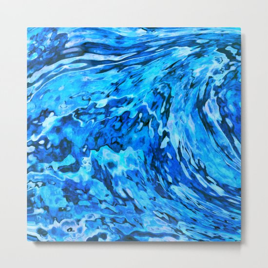 Blue wave abstract Metal Print