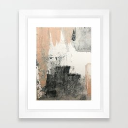 Peace and Quiet [1]: a pretty, minimal abstract piece in gray and peach by Alyssa Hamilton Art Framed Art Print