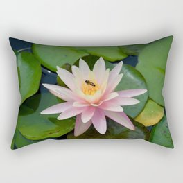 Bee with Pink Waterlily Rectangular Pillow