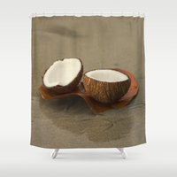 coconut wishes Shower Curtains featuring Coconut by cinema4design