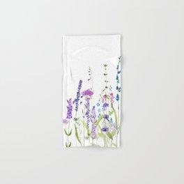 purple blue wild flowers watercolor painting Hand & Bath Towel