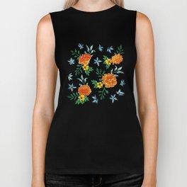 Dark Floral: Marigolds and Borage Biker Tank