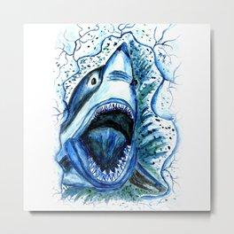 Hungry Shark Drawing Metal Print