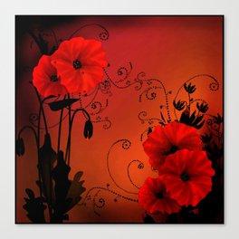 Poppy flowers, sunset Canvas Print