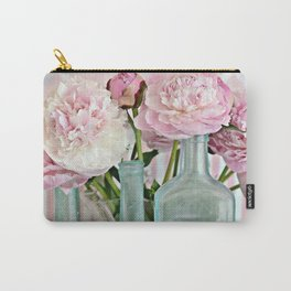 Peonies Shabby Chic Cottage Pink Aqua Peony Bottles Art Print Home Decor Carry-All Pouch