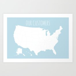 Our Customers USA Map in Light Blue Art Print