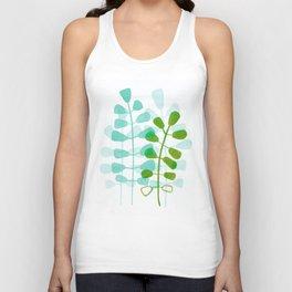 Aqua Green Leaves Watercolor Unisex Tank Top