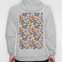 Rustic orange lavender ivory floral illustration Hoody