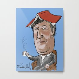 Stephen Fry not reading a book Metal Print
