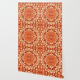 Southwestern Sun Mandala Batik, Coral Orange Wallpaper