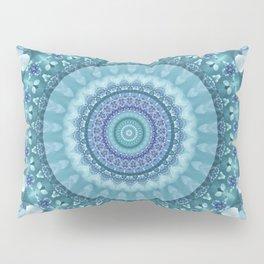 Turquoise and Navy Mandala Pillow Sham
