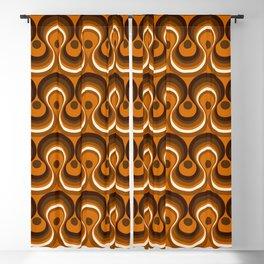 Brown, Orange & Ivory Wavy Lines Retro Pattern Blackout Curtain