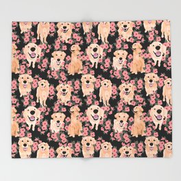 Golden Retrievers and flowers on Black Decke