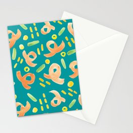 Turquoise and Orange Handprinted Pattern  Stationery Cards