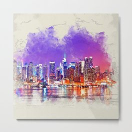New York City skyline Sunset - mixed media Metal Print