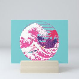 Spaceman surfing The Great pink wave Mini Art Print