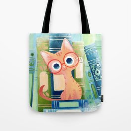 Ginger cat with glasses Tote Bag