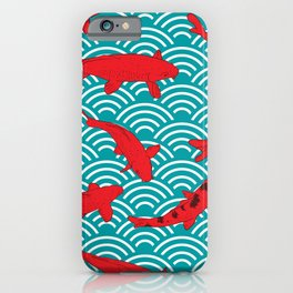Koi carp. Red fish. black outline sketch doodle. azure teal burgundy maroon Nature oriental backgrou iPhone Case