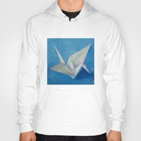 crane Hoodies featuring Origami Crane by Michael Creese
