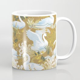 White swans   golden mustard Coffee Mug