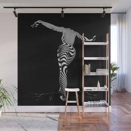 0489s-MM BW Zebra Striped Art Nude Figure Curves Wall Mural