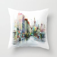street Throw Pillows featuring street by tatiana-teni