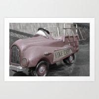 Vintage Fire Truck Art Print