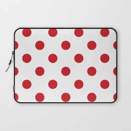Polka Dots - Fire Engine Red on White Laptop Sleeve