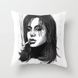 Smoking Trash Throw Pillow