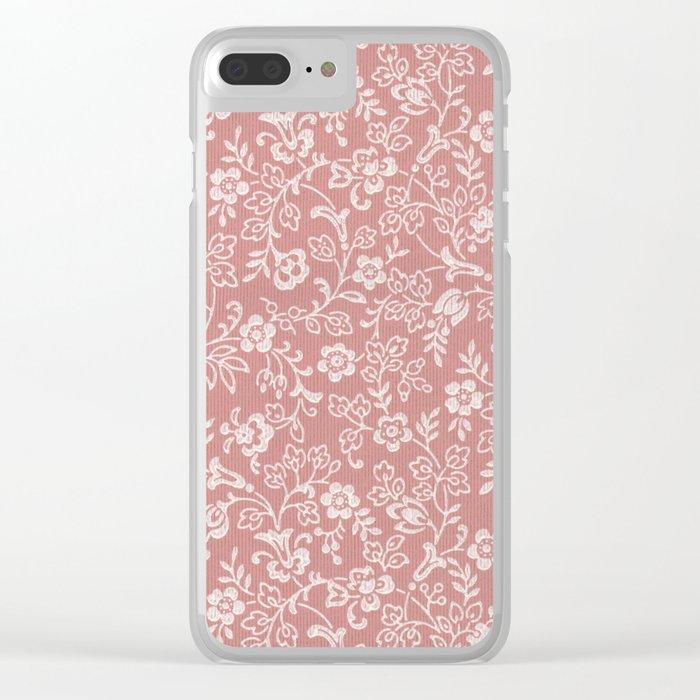 Mauve Rose Color Antique Floral Wallpaper Design Clear Iphone Case By Kmcdesigns