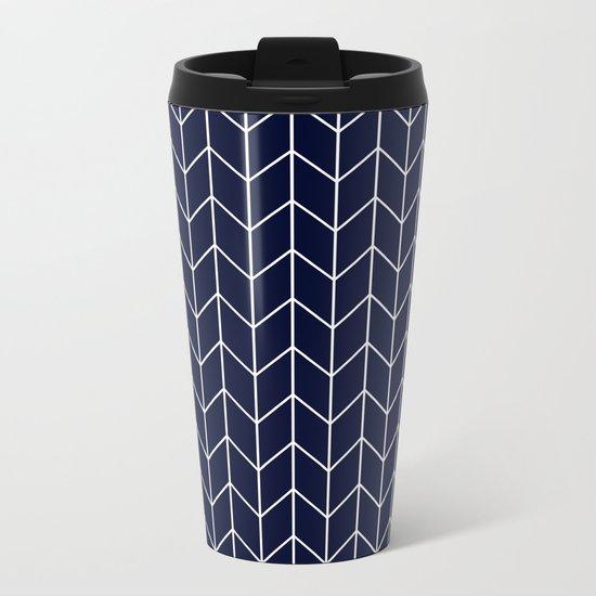 Chevron pattern -  white on darkblue Metal Travel Mug