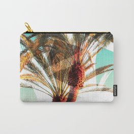Modern summer tropical palm trees seascape photography white abstract geometric brushstrokes paint Carry-All Pouch