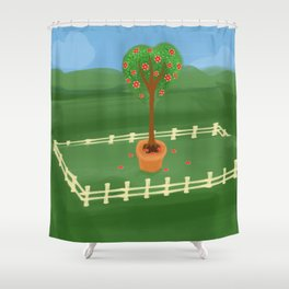 Hearty Topiary Shower Curtain