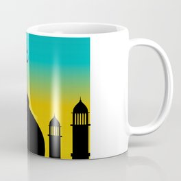 Mosque dome and minaret silhouette with moon during sunset - eid gifts Coffee Mug