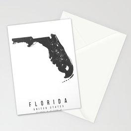 Florida Mono Black and White Modern Minimal Street Map Stationery Cards
