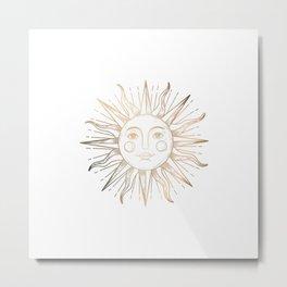 White Sun Face Metal Print